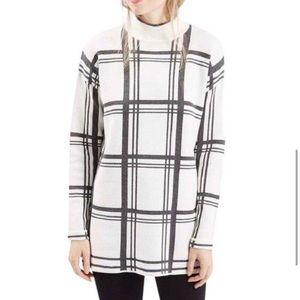 Topshop Windowpane Mock Neck Tunic Sweater